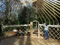putting up the yurt frame
