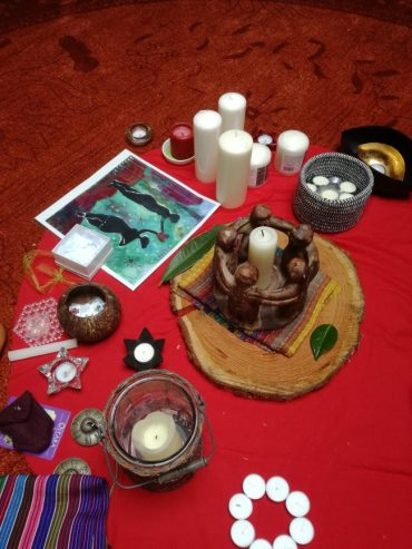 The altar after gifting circle