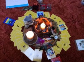 altar with divination card spread