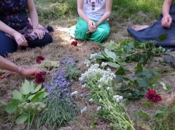Flower altar before creating floral crowns
