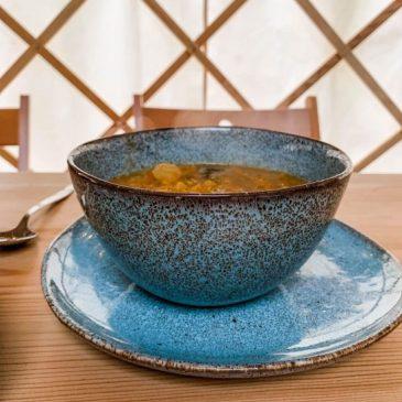 organic homemade vegan soup served in the yurt